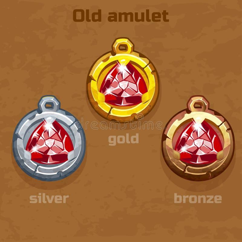 Oro, argento e vecchio amuleto bronzeo con il gioiello royalty illustrazione gratis