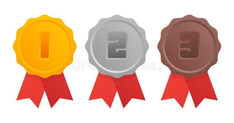 Oro, argento, medaglia di bronzo primi, secondi e terzi posti Trofeo con il nastro rosso Illustrazione piana di vettore di stile illustrazione vettoriale