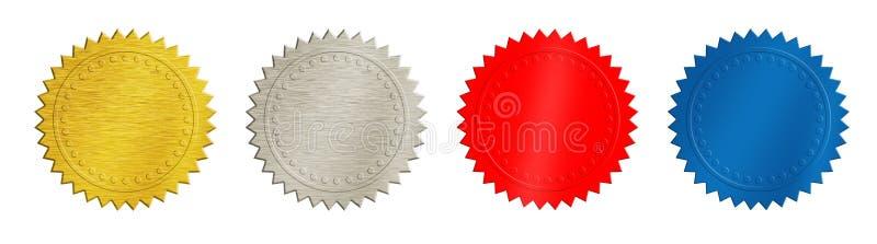 Oro, argento, monete rosse e blu o medaglie fotografie stock