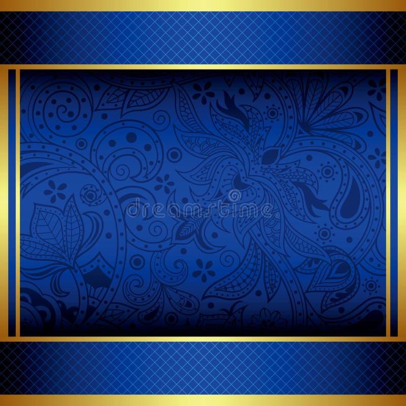 Oro astratto e menu blu illustrazione di stock