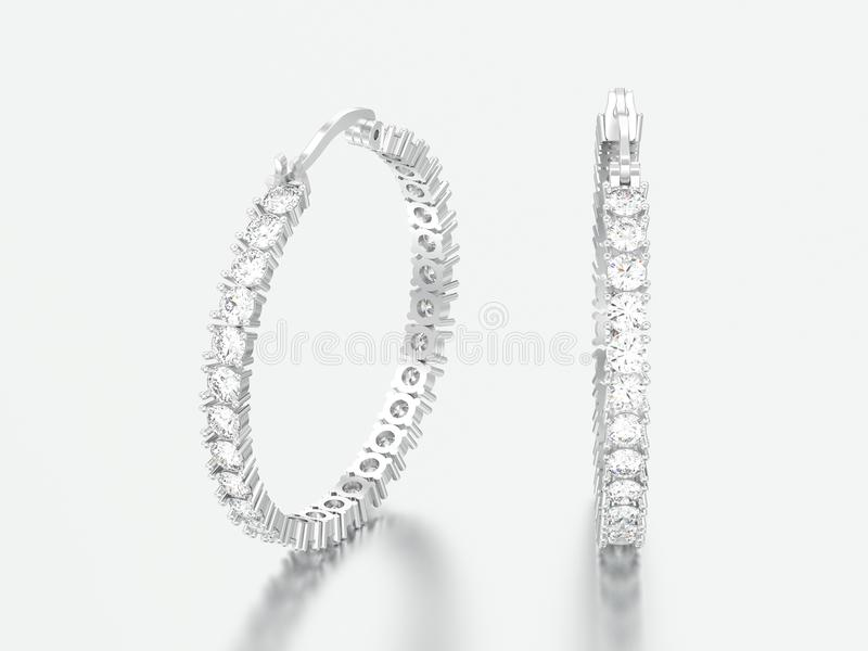 oro bianco dell'illustrazione 3D o orecchini decorativi d'argento del diamante immagini stock