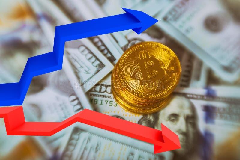 Oro Bitcoin en nosotros concepto del intercambio de dinero electrónico de los billetes de dólar Primer fotos de archivo libres de regalías