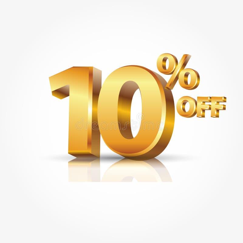 oro brillante 3d el 10 por ciento del texto con la reflexión aislado en el fondo blanco ejemplo para el descuento de la promoción stock de ilustración
