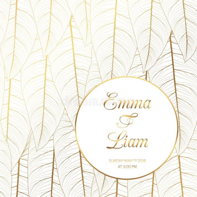 Oro brillante de las hojas tropicales de la invitación de la boda stock de ilustración