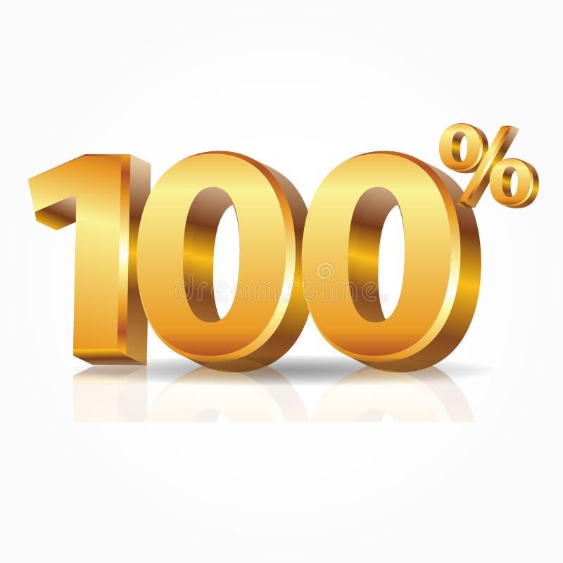 oro brillante di vettore 3d 100 per cento del testo con la riflessione isolato su fondo bianco illustrazione di stock