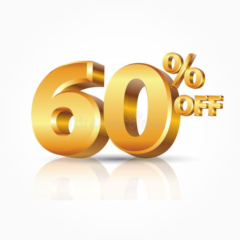 oro brillante di vettore 3d 60 per cento fuori da testo con la riflessione isolato su fondo bianco illustrazione di stock