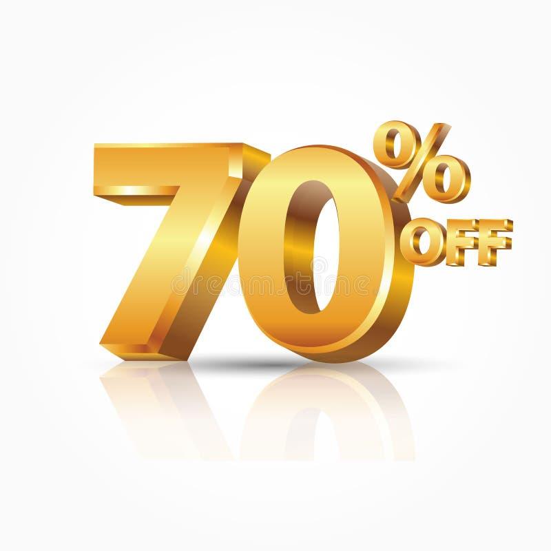 oro brillante di vettore 3d 70 per cento fuori da testo con la riflessione isolato su fondo bianco illustrazione vettoriale