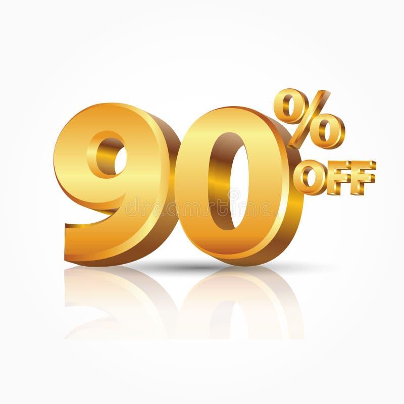 oro brillante di vettore 3d 90 per cento fuori da testo con la riflessione isolato su fondo bianco illustrazione di stock