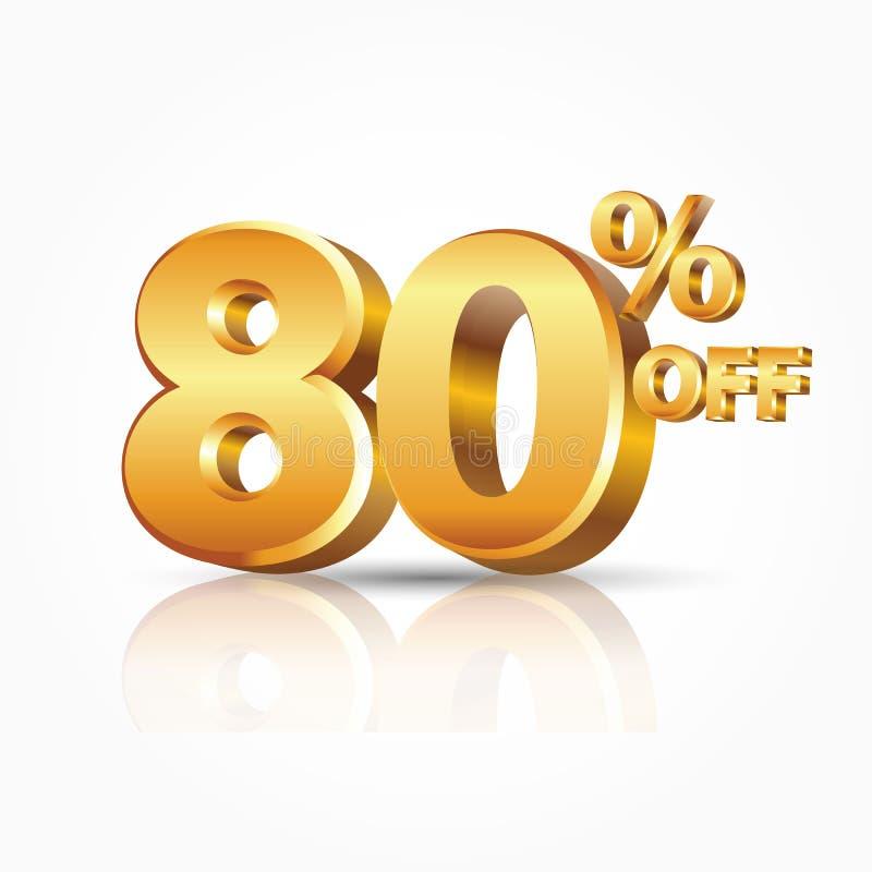 oro brillante di vettore 3d 80 per cento fuori da testo con la riflessione isolato su fondo bianco illustrazione vettoriale