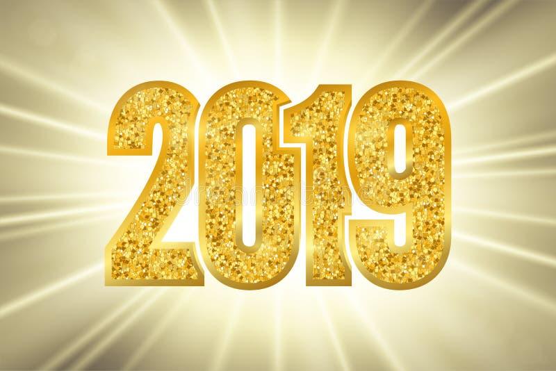 Oro brillante número 2019 de la Feliz Año Nuevo Dígitos de oro del brillo en fondo del bokeh de los rayos del sol Diseño que bril ilustración del vector