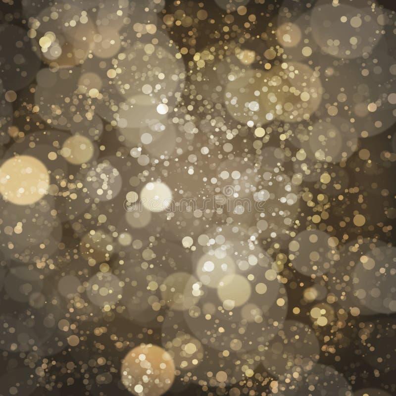 Oro bronzeo Champagne Bokeh Pattern Design di buio illustrazione di stock
