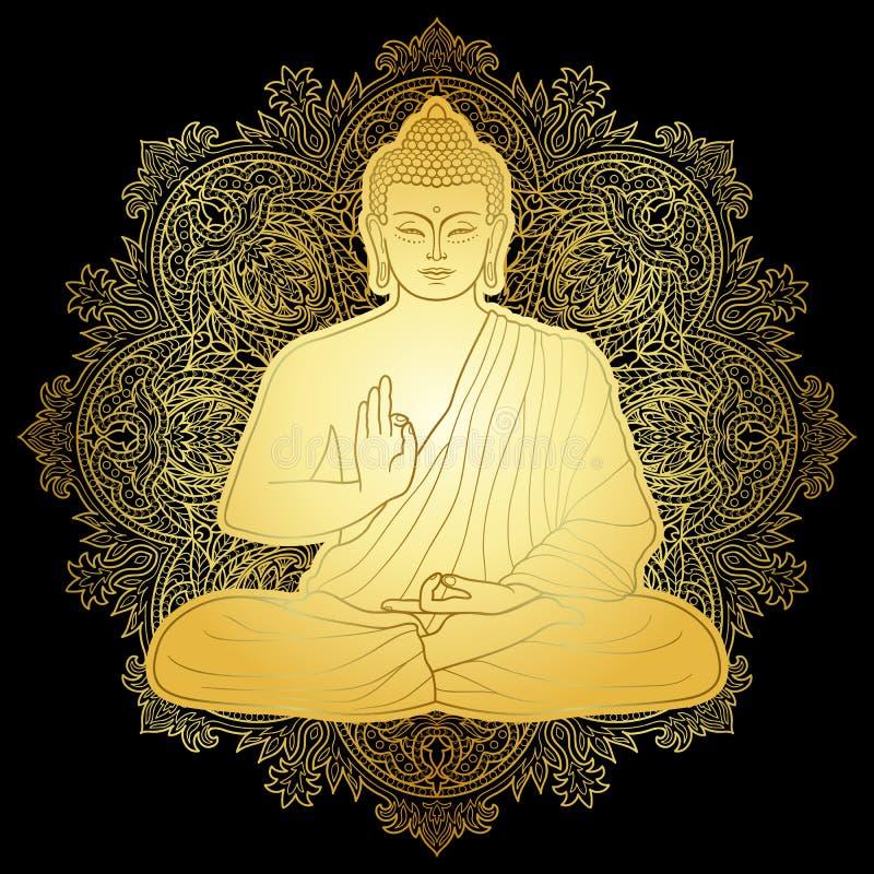 Oro Bubbha que se sienta en la posición de Lotus stock de ilustración