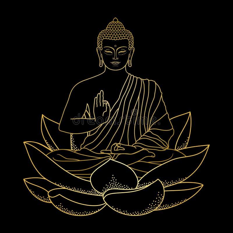 Oro Buda que se sienta en Lotus ilustración del vector