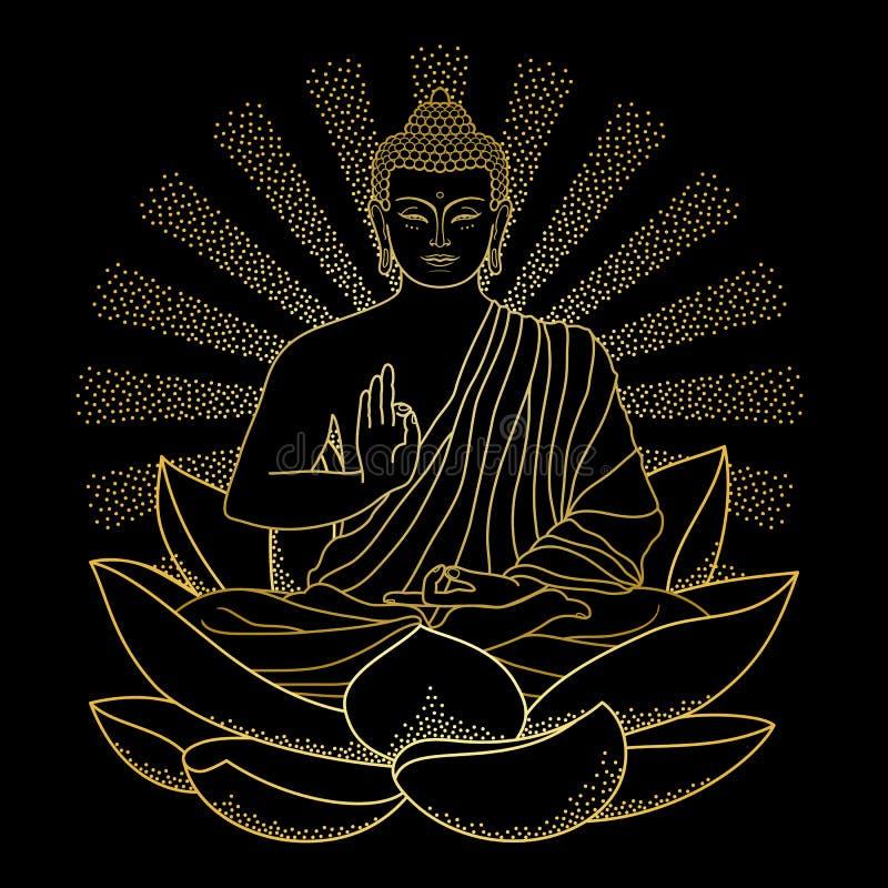 Oro Buda que se sienta en Lotus con el haz de luz ilustración del vector