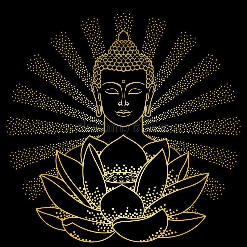 Oro Buda y Lotus con el haz de luz libre illustration