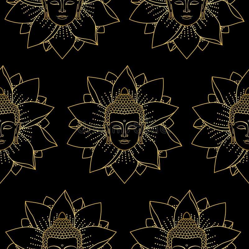 Oro Buda y Lotus Seamless Pattern libre illustration
