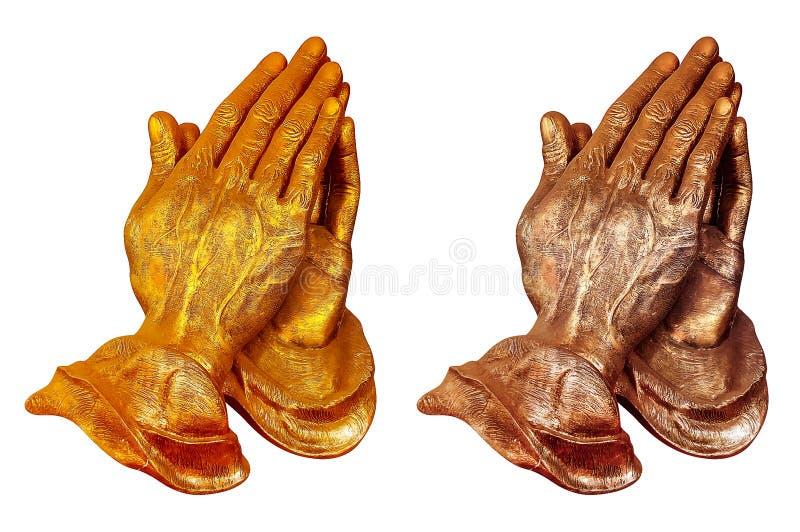 Oro che prega le mani fotografia stock libera da diritti