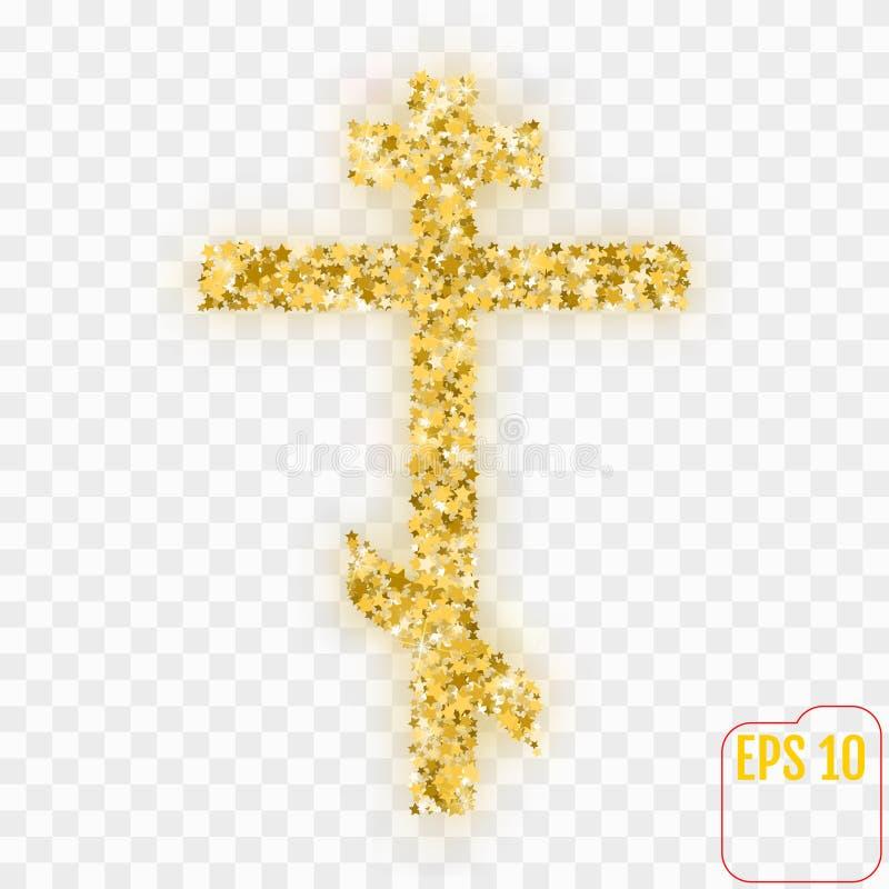 Oro Christian Cross El oro protagoniza la cruz del cristiano del confeti ilustración del vector