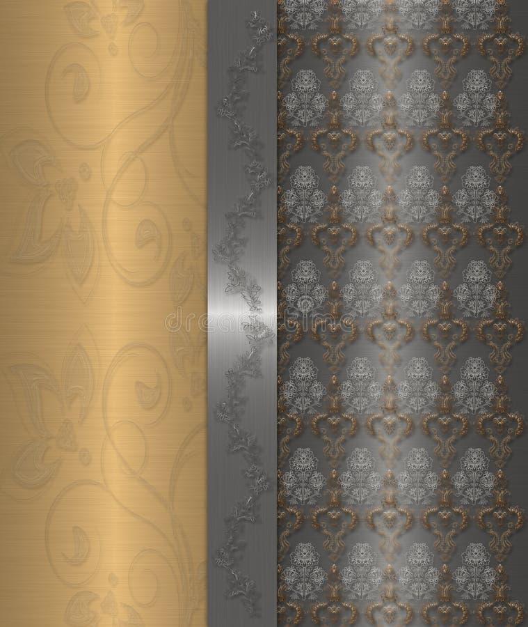 Oro con l'annata grigia illustrazione di stock