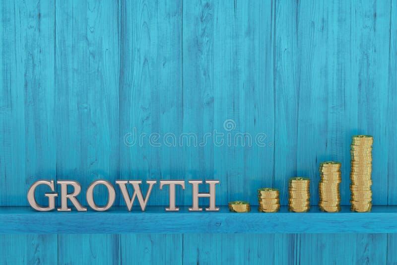 Oro con las letras del crecimiento en tablero azul ilustración 3D stock de ilustración