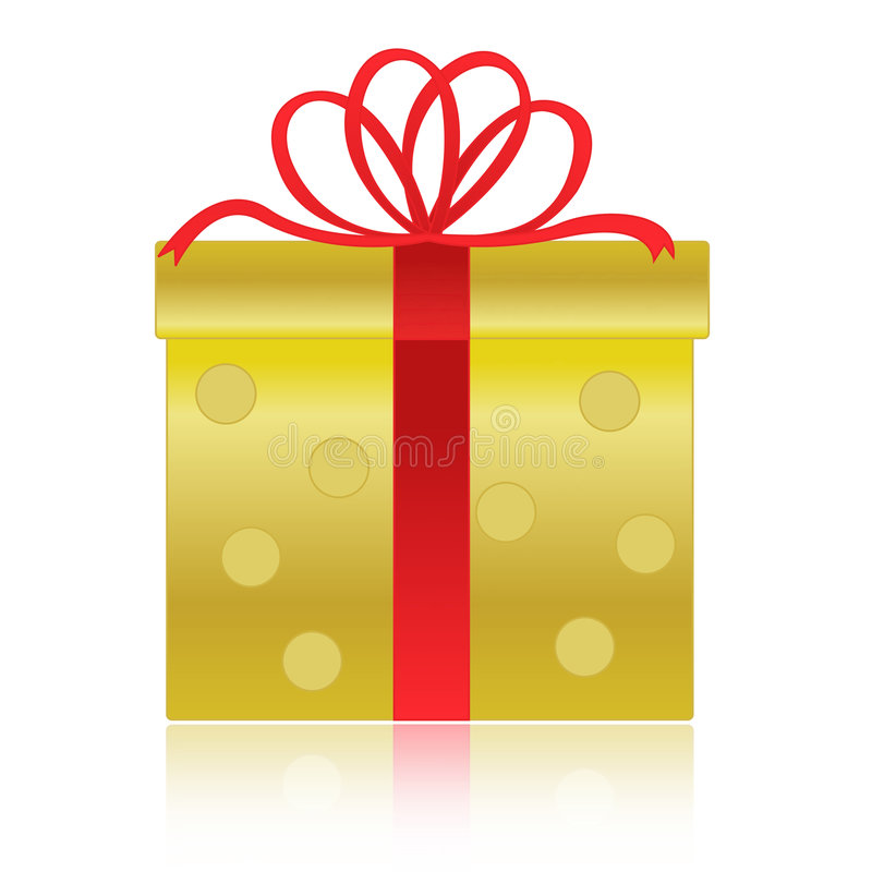 Oro/contenitore di regalo dorato illustrazione di stock