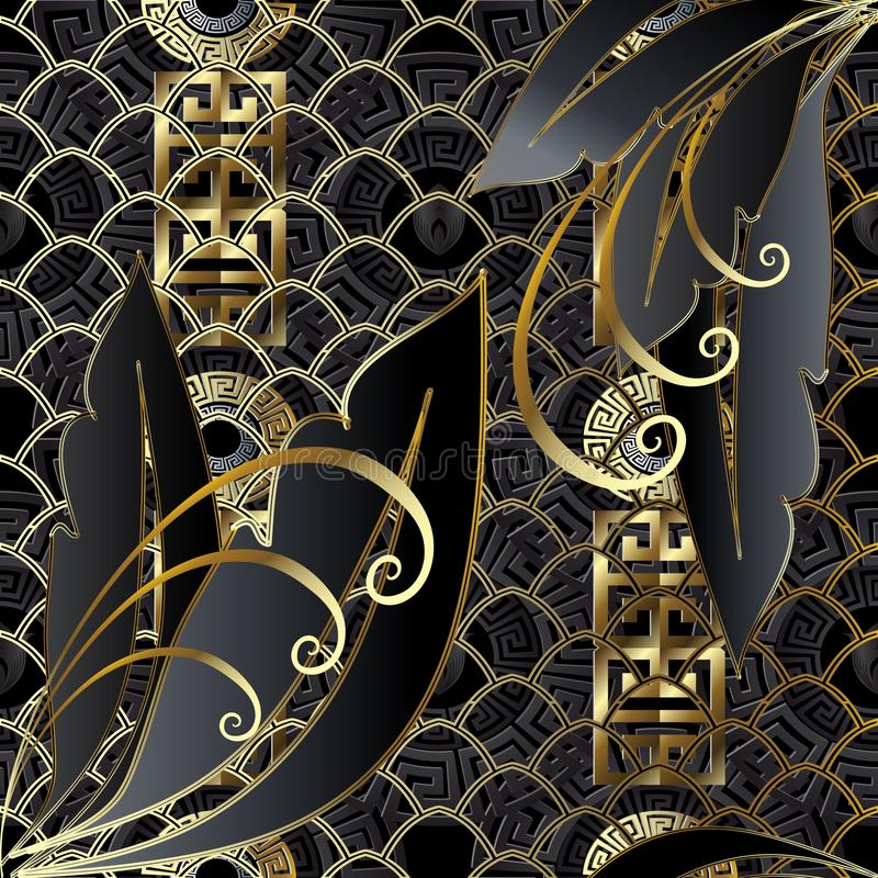 Oro creativo moderno y modelo inconsútil negro 3d ilustración del vector