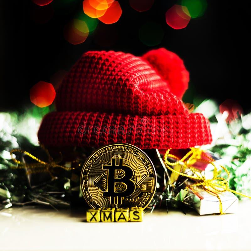 Oro cripto Bitcoin, BTC, macro colpo di valuta delle monete di Bitcoin immagine stock