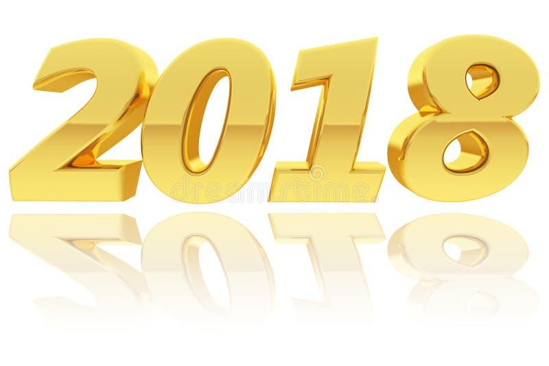 Oro 2018 dígitos con reflexiones de la pendiente en fondo blanco brillante stock de ilustración