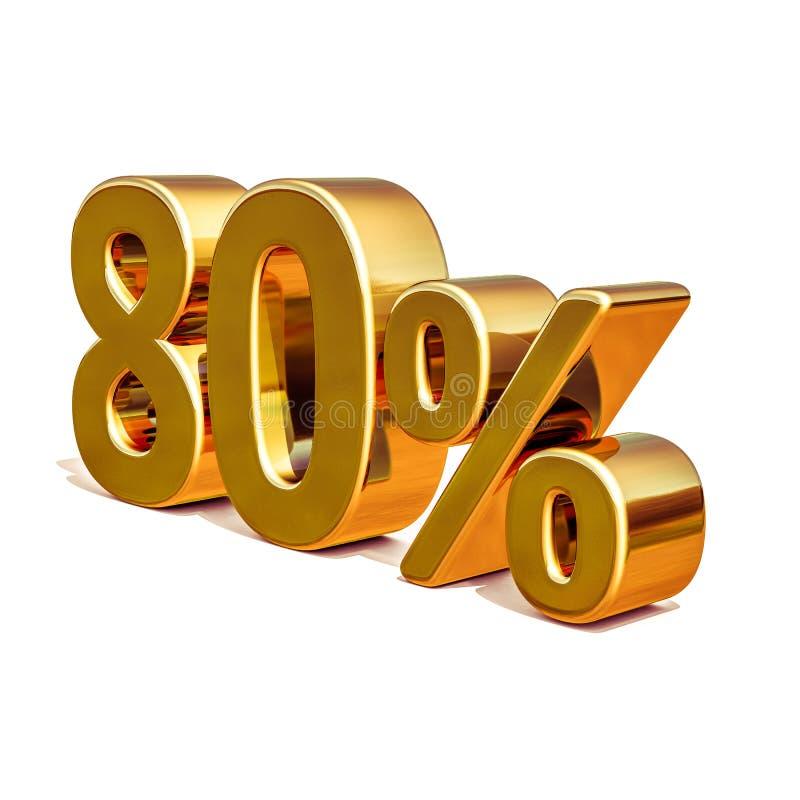 oro 3d muestra del descuento del 80 ochenta por ciento stock de ilustración