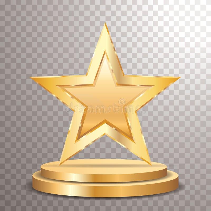 Oro de oro en blanco de la estrella ilustración del vector