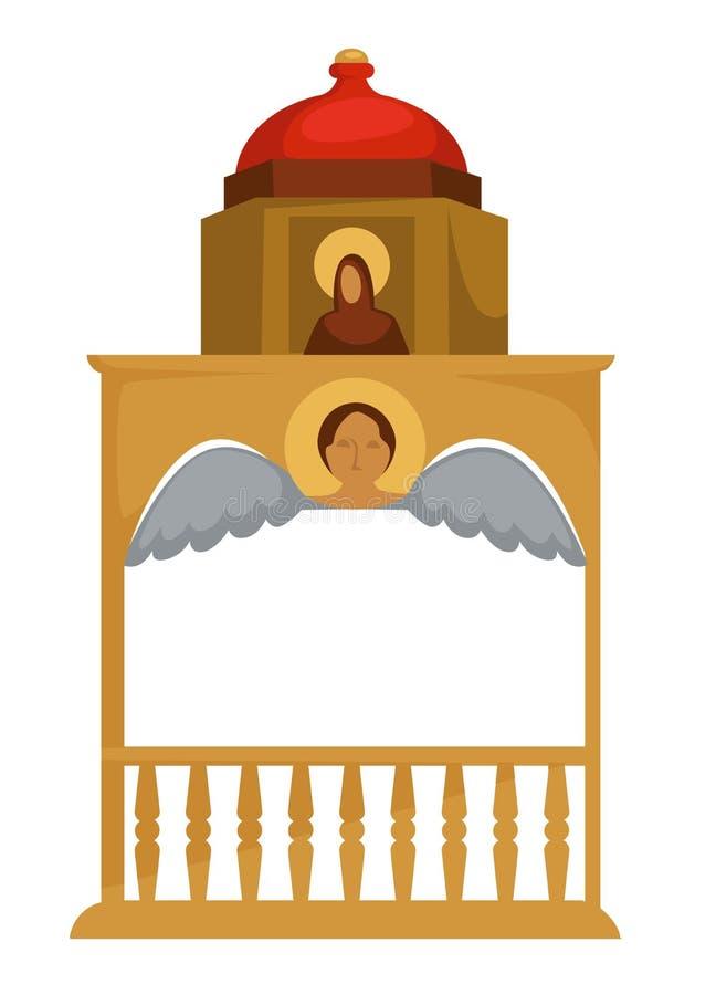 Oro de la arquitectura de Bizancio bien con el elemento de la iglesia del icono y del ángel ilustración del vector