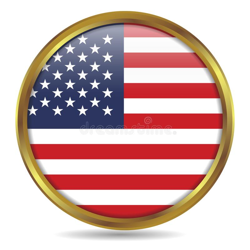 Oro de la bandera de los Estados Unidos de América redondo ilustración del vector