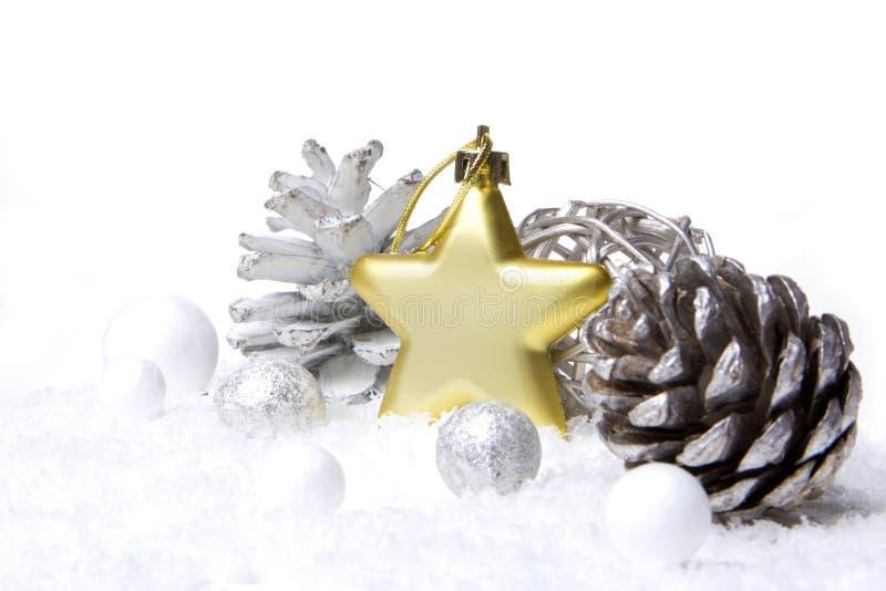 Oro de la decoración de la Navidad fotos de archivo