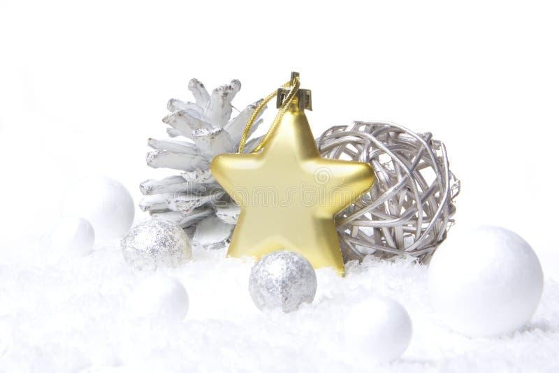 Oro de la decoración de la Navidad, plata fotografía de archivo libre de regalías