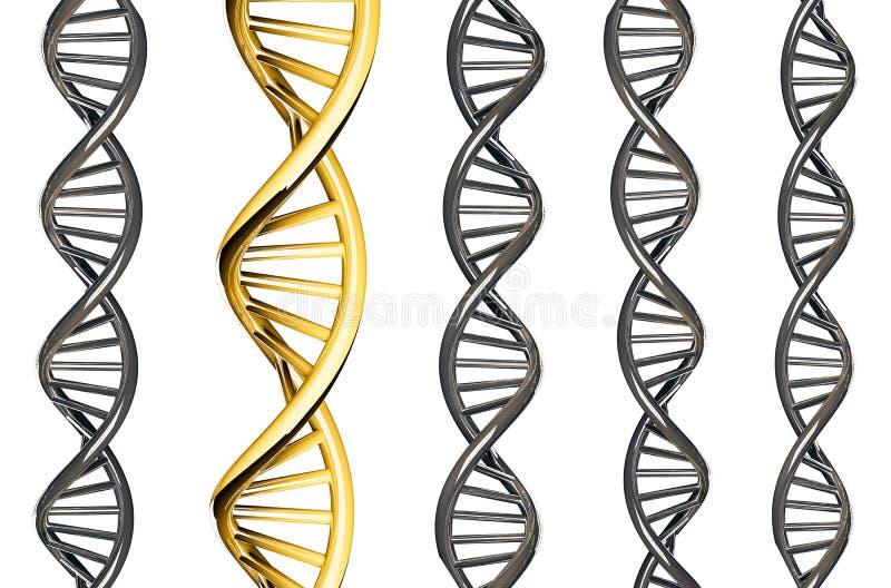 Oro de la DNA excepcional de la DNA de la plata, aislada en el fondo blanco, 3d rendido ilustración del vector