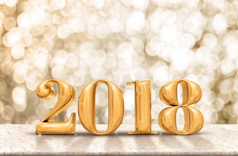 Oro 2018 de la Feliz Año Nuevo brillante en la tabla de mármol con g chispeante foto de archivo