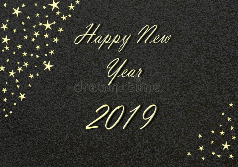 Oro 2019 de la Feliz Año Nuevo con el fondo y las estrellas negros stock de ilustración