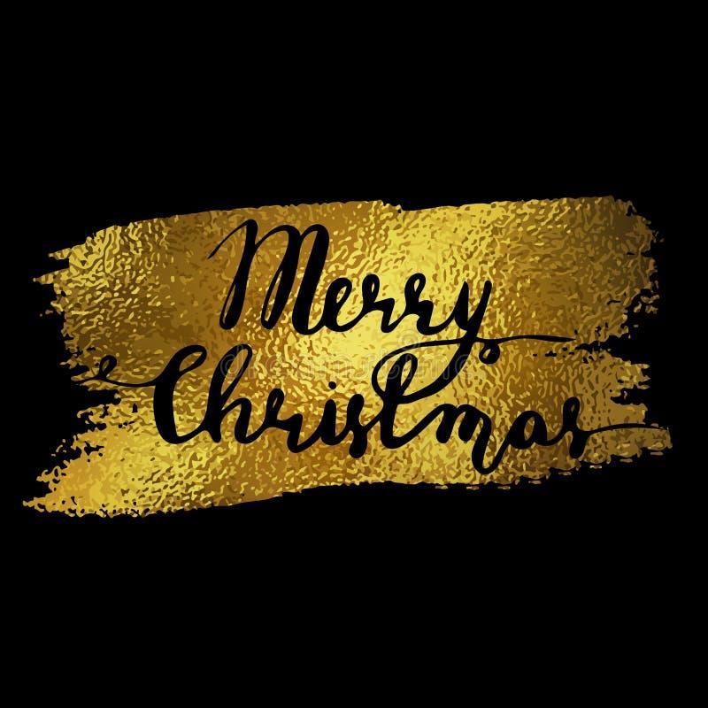Oro de la Feliz Navidad stock de ilustración