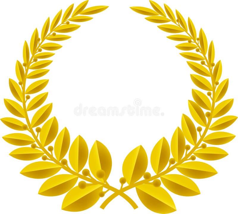 Oro de la guirnalda del laurel (vector) stock de ilustración