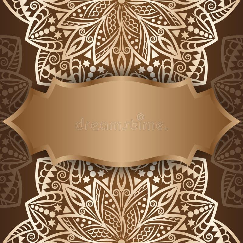 Oro de la mandala, fondo Tarjeta _1 de la invitación libre illustration