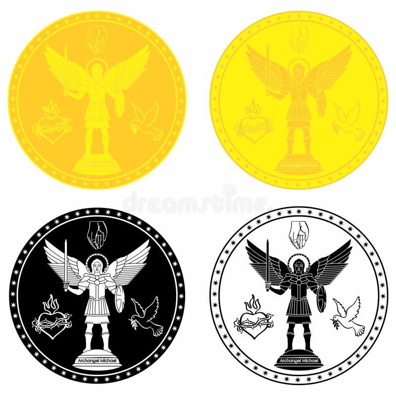 Oro de la medalla de Michael del arcángel y terraplén negro ilustración del vector