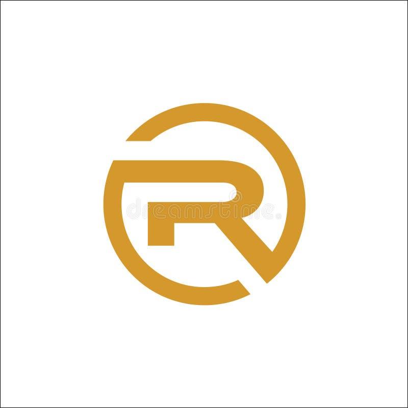 Oro de la plantilla del extracto del vector del logotipo del círculo de las iniciales R ilustración del vector