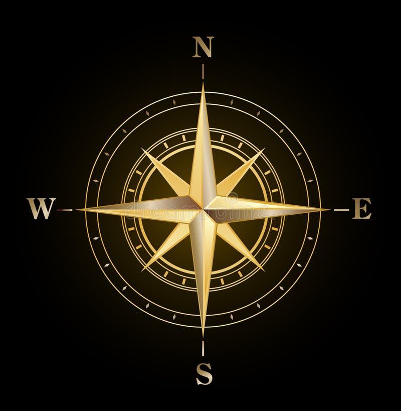 Oro de la rosa de compás ilustración del vector
