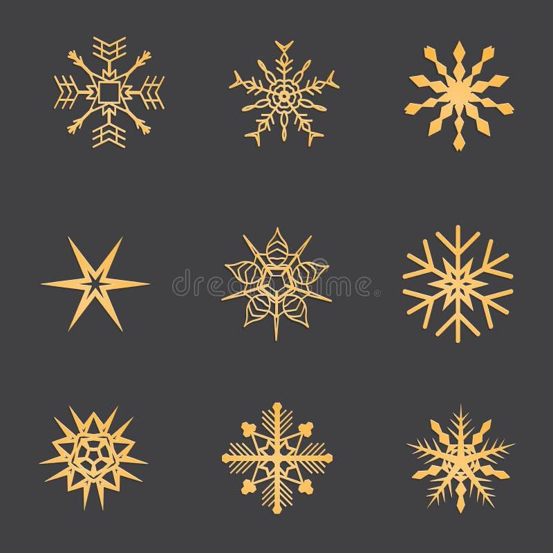 Oro de los copos de nieve La Navidad y Año Nuevo imagenes de archivo
