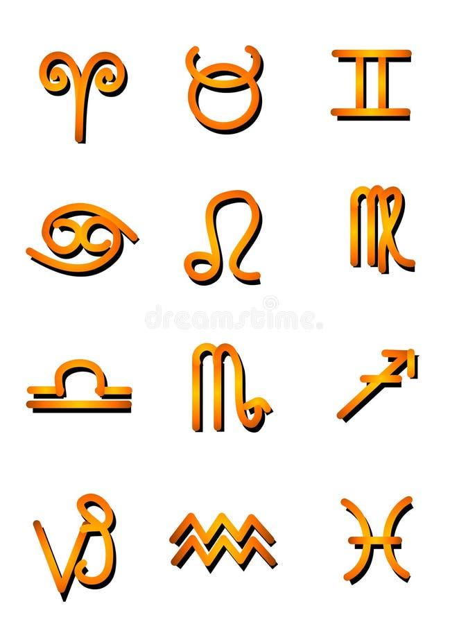 Oro de los iconos del símbolo de la astrología ilustración del vector