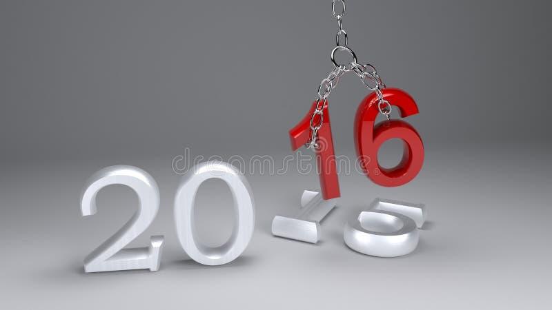 oro 2016 del Año Nuevo 3D durante 2015 libre illustration