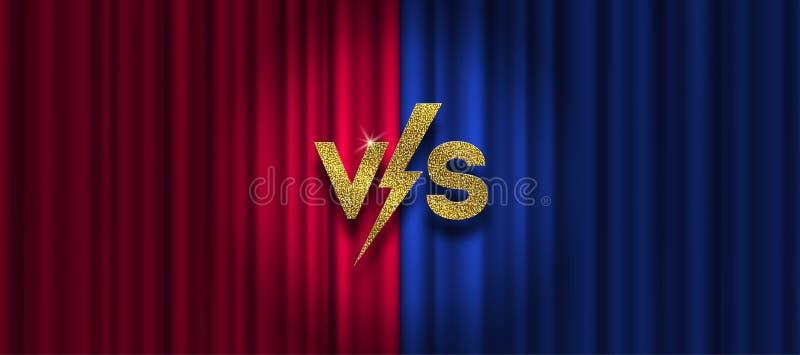Oro del brillo contra logotipo en fondo rojo y azul de la cortina CONTRA el logotipo para los juegos, batalla, funcionamiento, de ilustración del vector