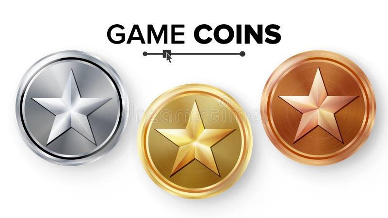 Oro del juego, plata, vector fijado monedas de bronce con la estrella Ejemplo realista del icono del logro Medallas espesas para  stock de ilustración