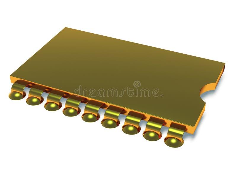 Oro del microchip del ordenador ilustración del vector