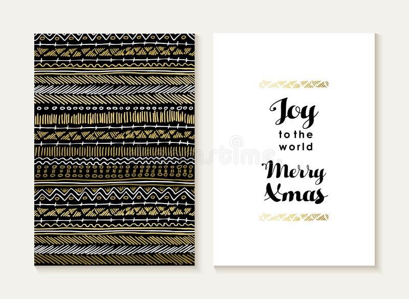 Oro del modello dell'insieme di carta di gioia di Buon Natale tribale royalty illustrazione gratis